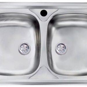 Lavello cucina 86 cm 2 vasche da incasso